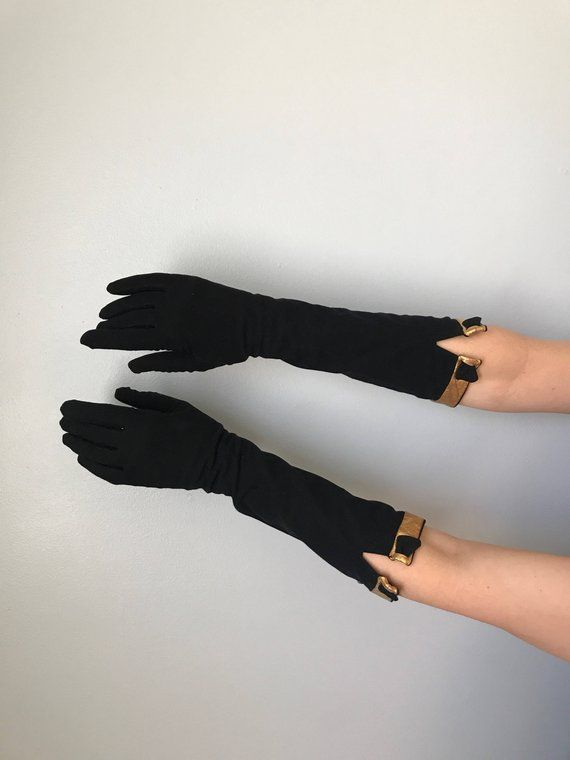 60s Black Cotton Dress Gloves Gauntlet Gloves 34 Length Gloves