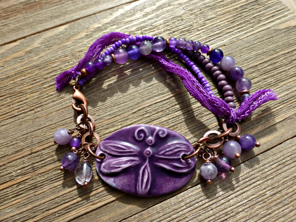 Purple Ceramic Dragonfly Amethyst Purple Stones Copper