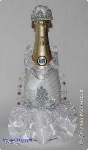 Поделка изделие Новый год Цумами Канзаши Съемный чехол на бутылку шампанского Ленты фото 1