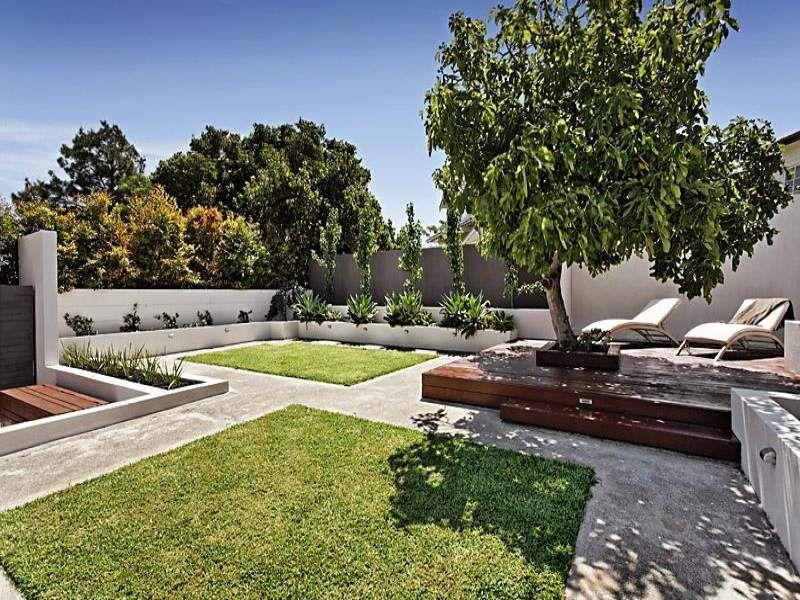 Charmant Landscaped Garden Design Using Grass With Deck U0026 Ground Lighting   Gardens  Photo 261784
