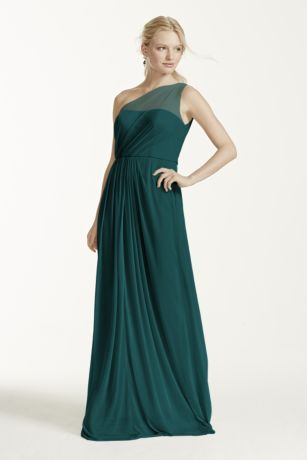 Let your inner goddess shine in this timeless, eye-catching illusion one shoulder dress!  Pleated bodice features an illusion one shoulder strap.  Versatile silhouette can easily be glammed up with accessories, or looks simply stunning on its own!  Long mesh skirt adds dimension and movement.  Fully lined. Imported polyester. Side zipper. Dry clean only. Available in Extra Length sizes as Style 4XLF15928.
