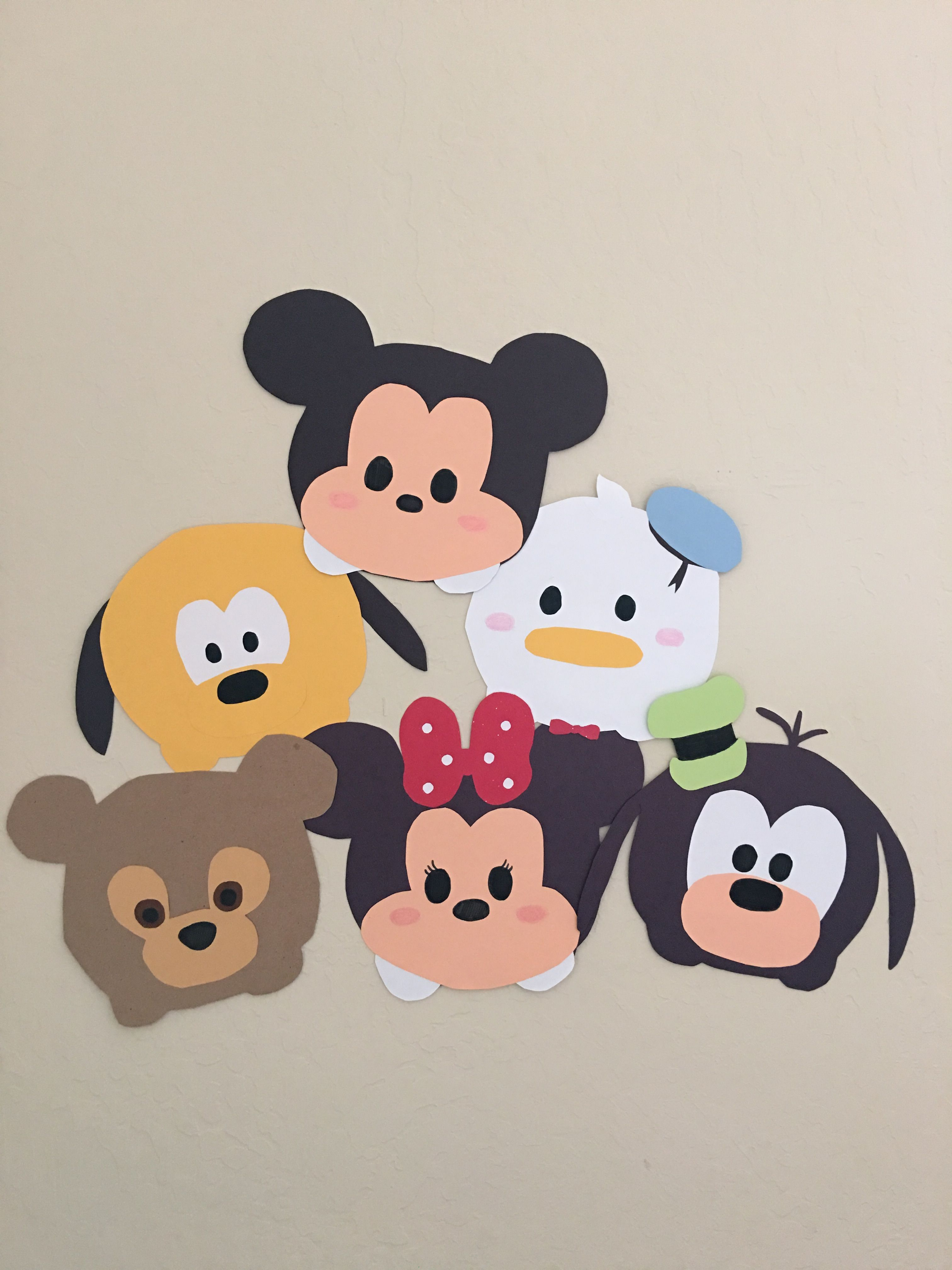 Construction paper Tsum Tsum decorations-  Mickey, Minnie, Donald, Goofy, Pluto, Duffy