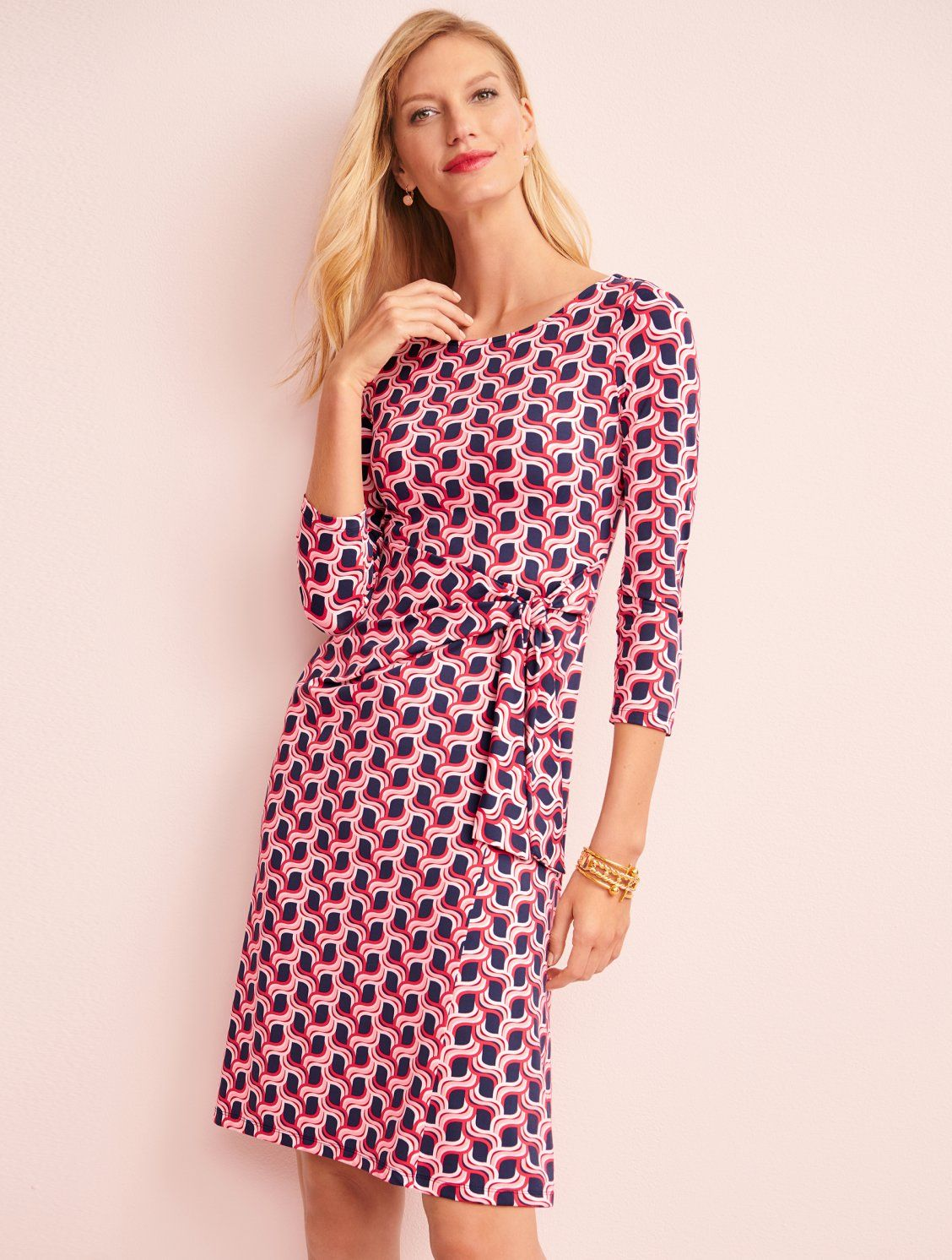A Lively Print Sheath That S Comfortable To Wear And Easy To Pack Pair This Go To Dress With Boots Casual Dress Outfits Printed Sheath Dresses Talbots Fashion [ 1492 x 1128 Pixel ]