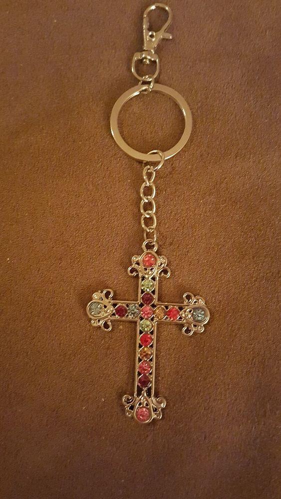 NIP Multicolor Rhinestone Cross FOB Keychain  735baac6ae