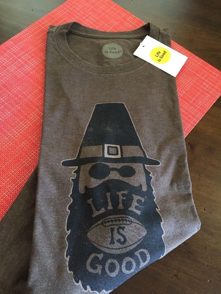c1760bfa96e4 Life is Good Men's SS T-Shirt Thankful Beard Football Thanksgiving 2XL NWT  #fashion #clothing #shoes #accessories #mensclothing #shirts (ebay link)