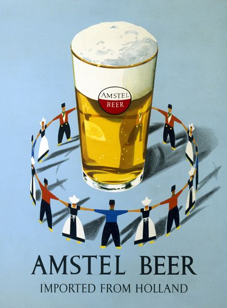 Amstel Beer Vintage  Advertising Poster reproduction
