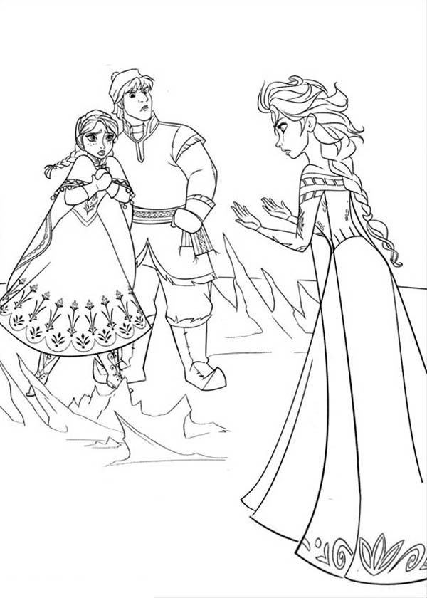 Anna and kristoff in arguing with elsa coloring page free printable frozen coloring pages