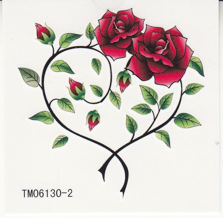 Waterproof Temporary Tattoos Two Roses Heart Shapedwst12901