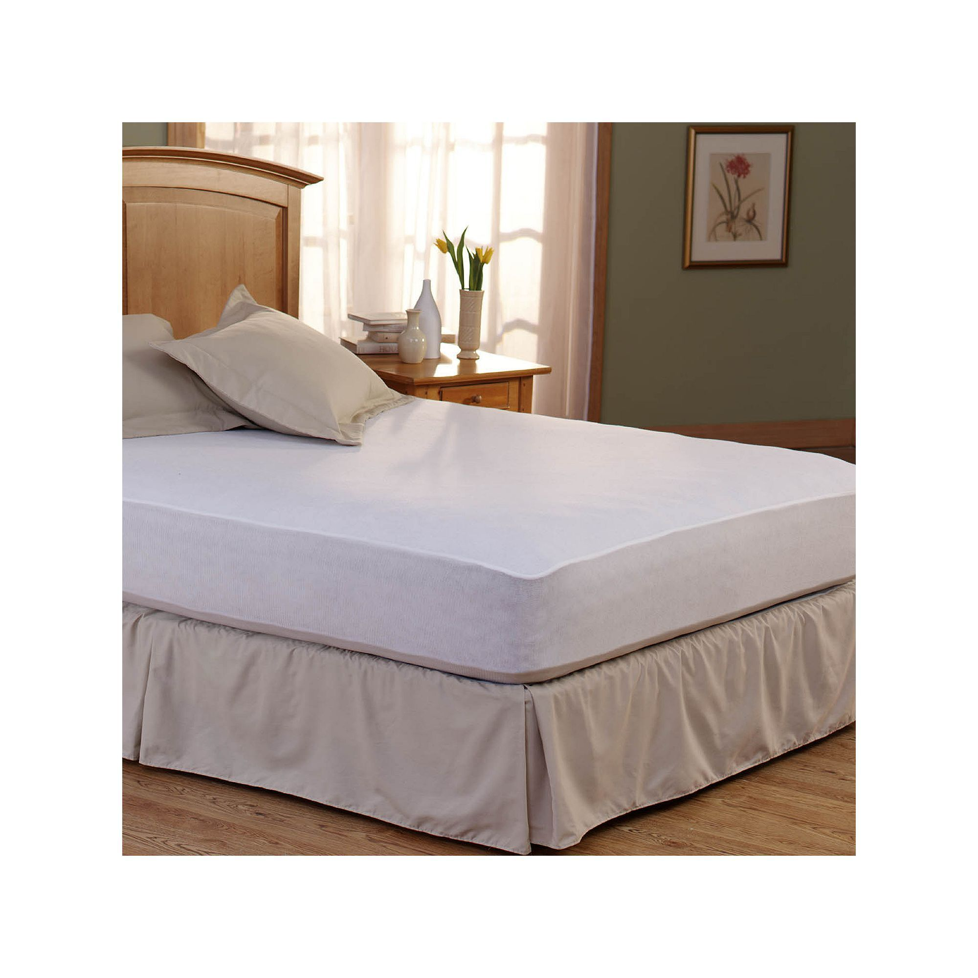 Spring Air Bed Armor DeepPocket Mattress Protector, White