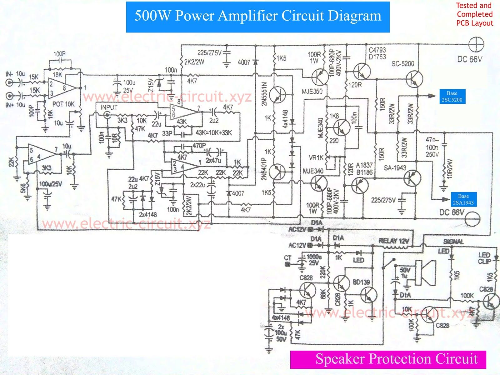 medium resolution of power amplifier 500w with speaker protection circuit diagram