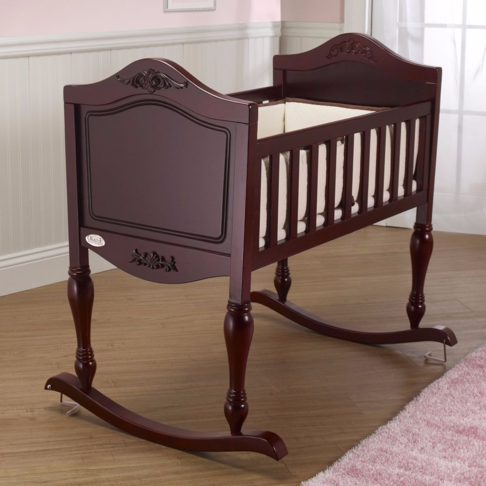 Baby Cradle Crib Antique Style Nursery Furniture Wood Cribs Infant