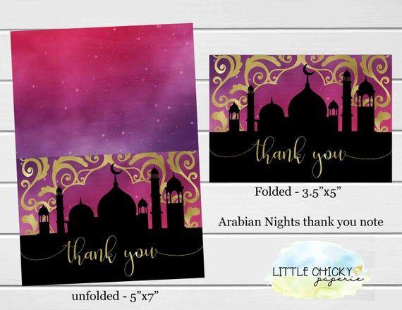 Arabian Nights Thank You Card, Moroccan Thank You Card, Thank You Note, Folding Thank You Note