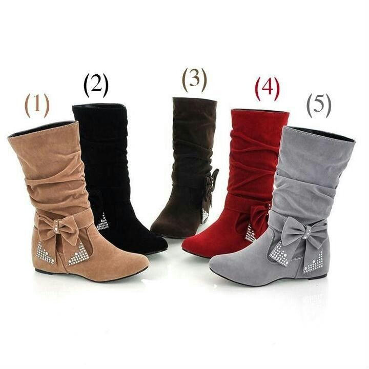 2013 Fall New Arrival Pure Color Rhinestones Bowknot Womens Flat Boots