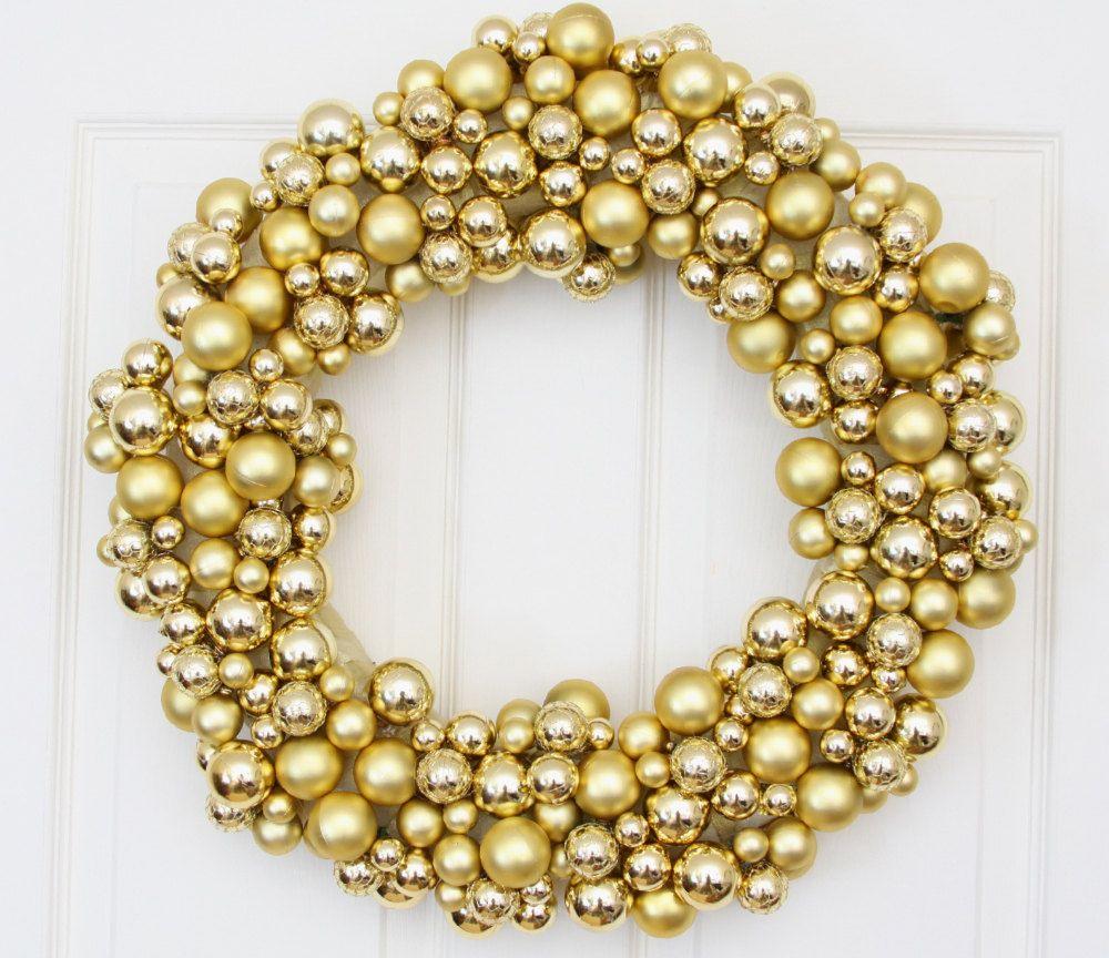 Golden Splendor Holiday Wreath // Christmas Wreath For Door // Christmas Wreath Decor // Holiday Wreath Christmas. $85.00, via Etsy.