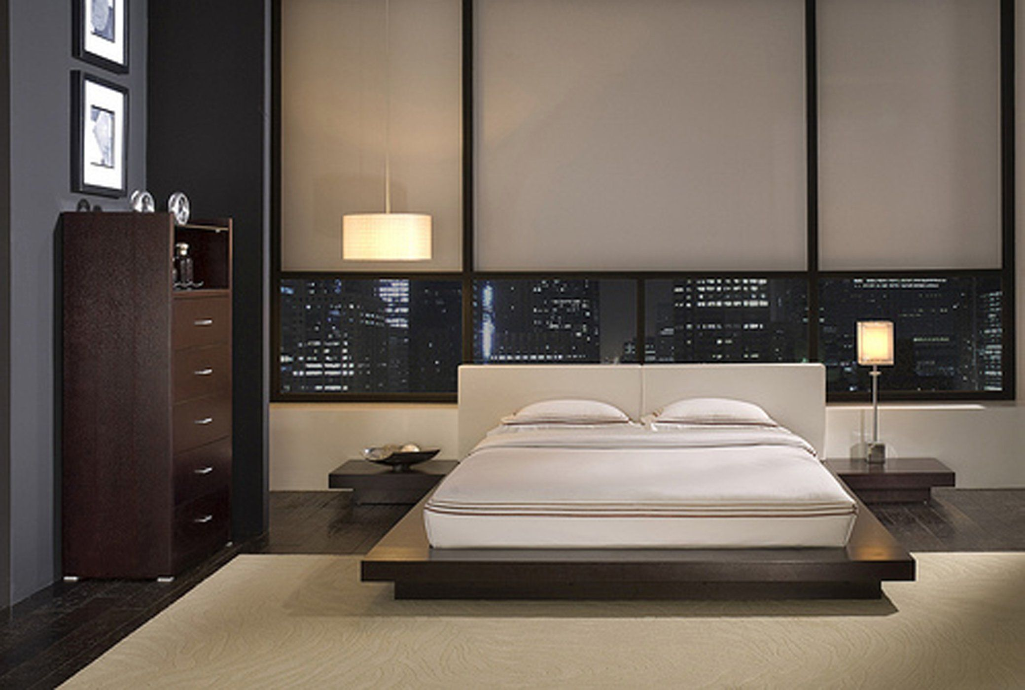 Minimalist Wood Queen Size Bed Frame Design Idea Photo Gallery As