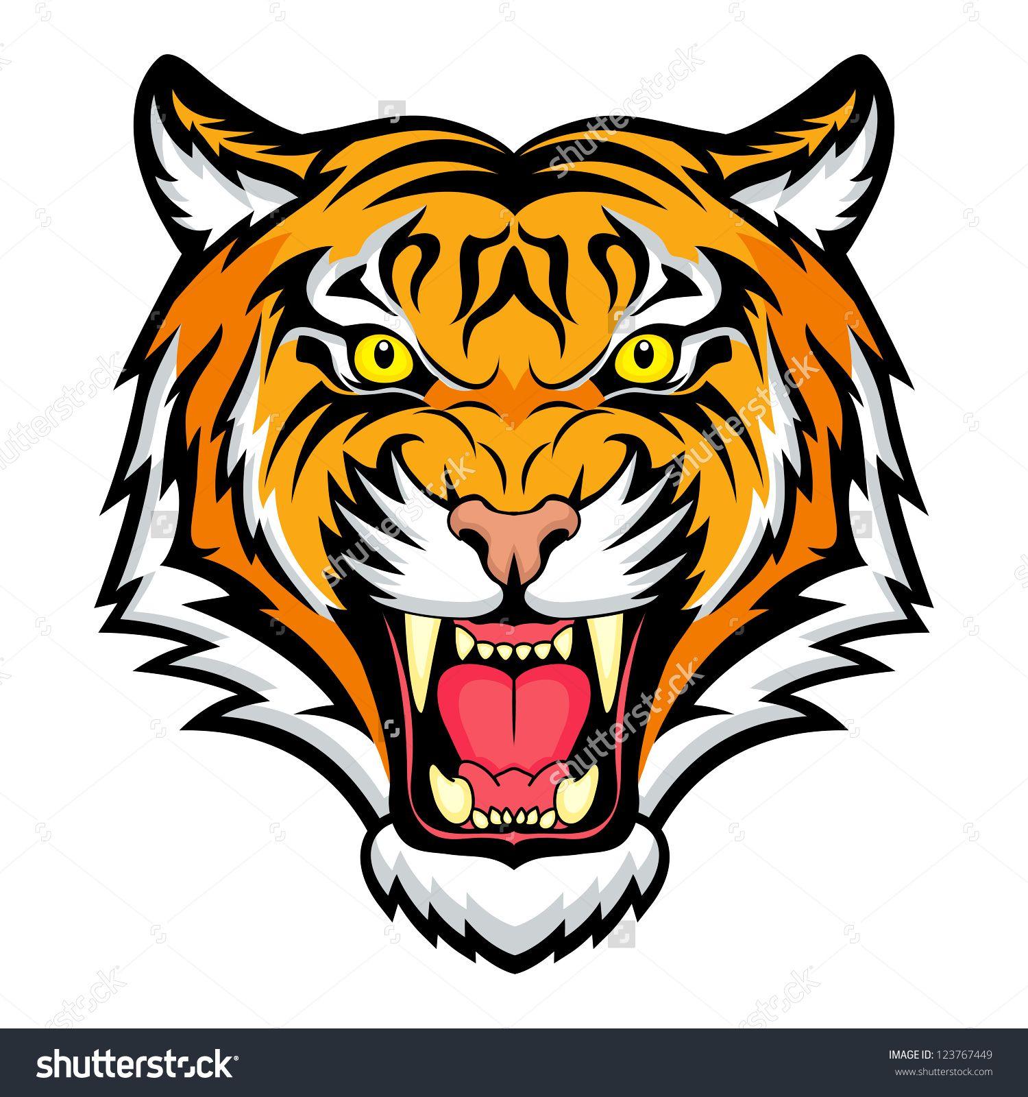 tiger anger vector illustration of a tiger head 123767449 rh pinterest com Auburn University Tiger Logo Auburn Tigers Logo Stencil