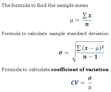 Worksheet Mean Formula Statistics formula cv standard deviation mean to find to
