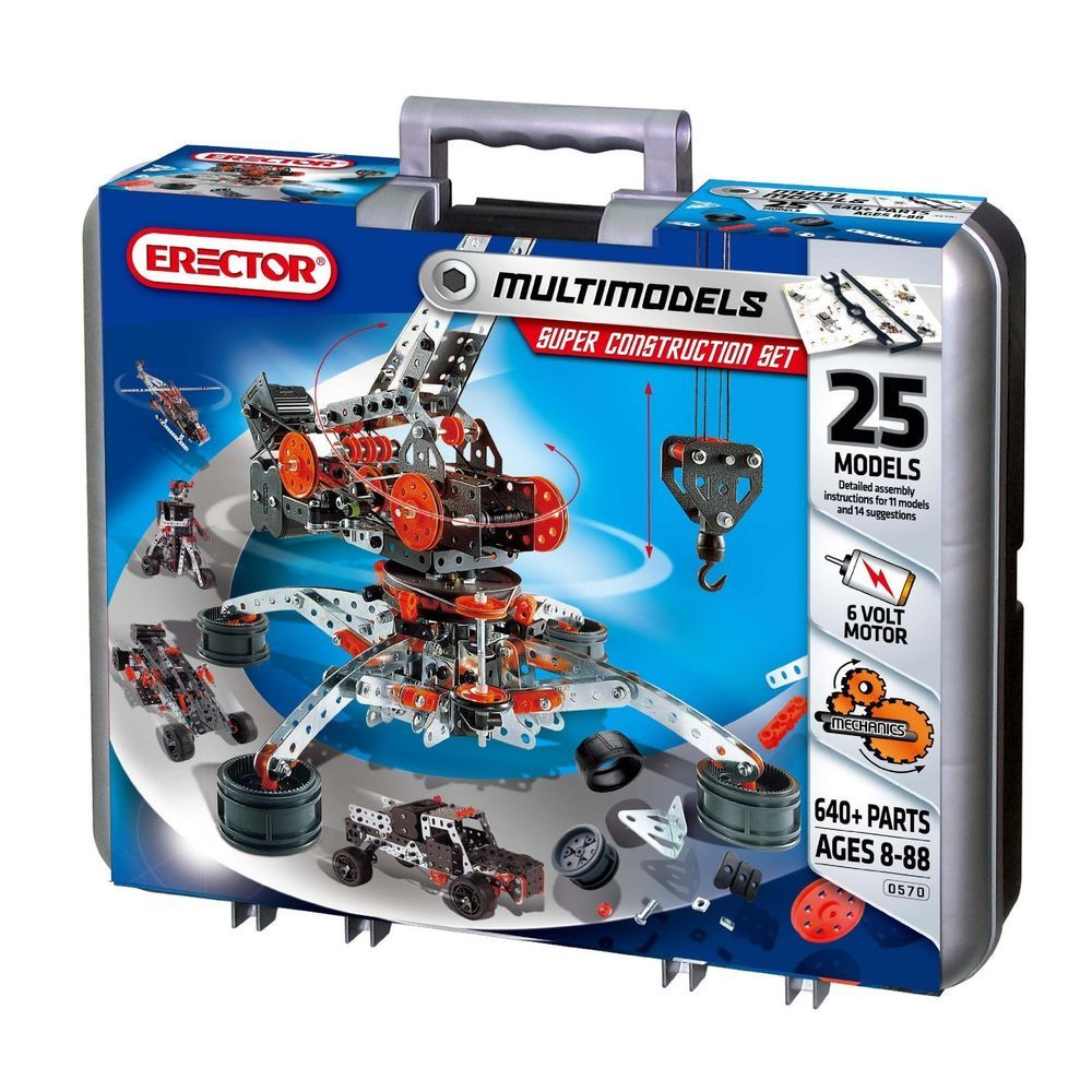 Meccano Erector Super Construction Set 25 Models 640 Pcs Motorized Erector Set Erector Set Construction Sets Construction Toys