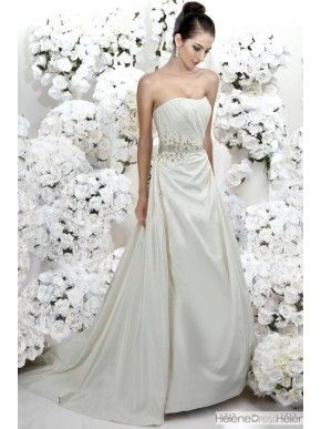 New Style A-Line Strapless Backless Floor-Length Court Train Beaded Wedding Dress - Wedding Dresses Less Than $200 - Wedding Dresses