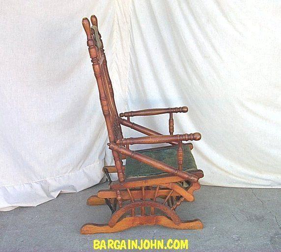 Victorian Antique Wooden Glider Rocker With Upholstered Seat Glider Rocker Glider Rocker Chair Victorian