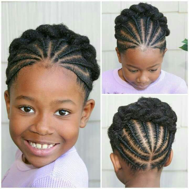 Updo Cornrow For Girls Of Color Natural Hairstyles For Kids Cornrow Styles For Girls Natural Hair Styles