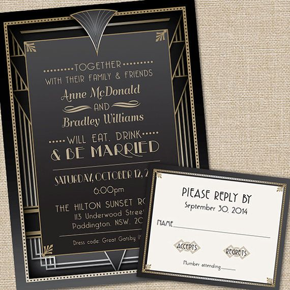 Great Gatsby Wedding Invitations With Rsvp Cards And Envelopes