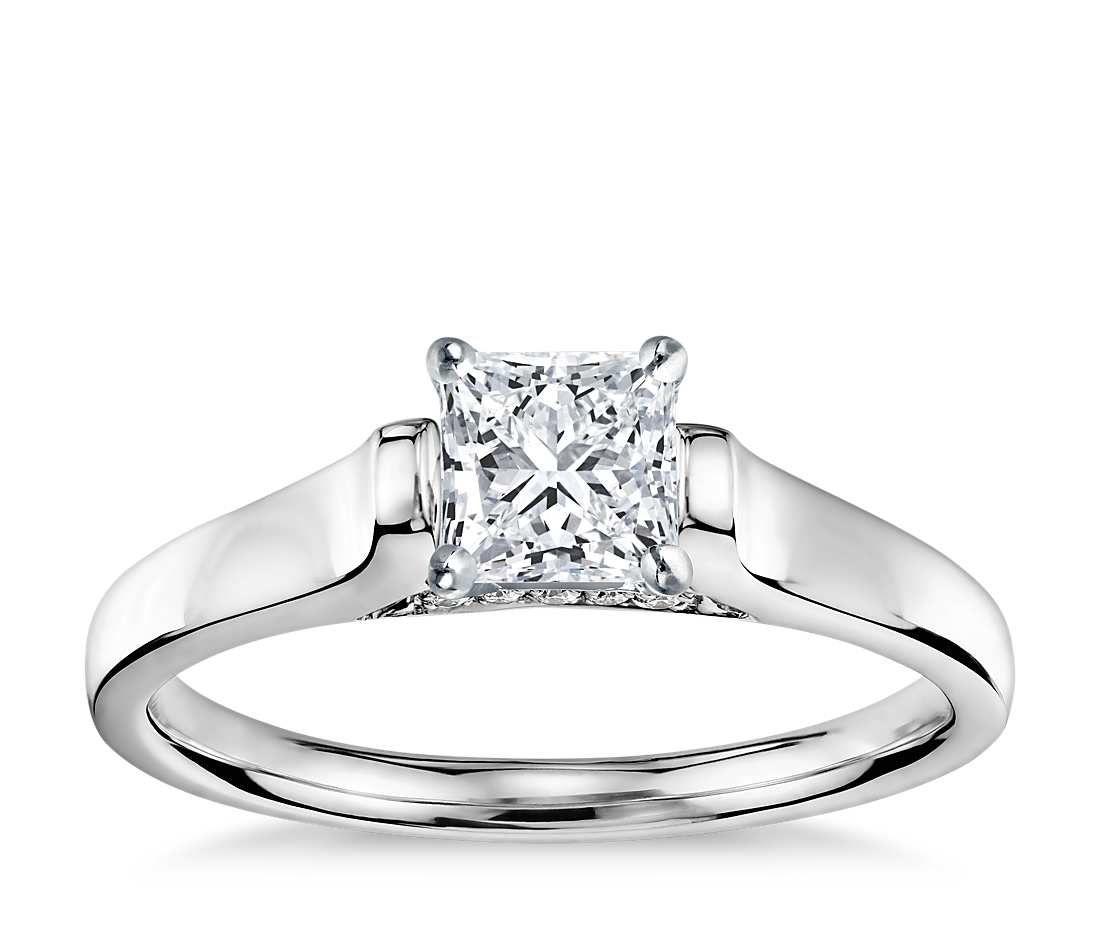 Princess cut truly zac posen cathedral solitaire plus diamond