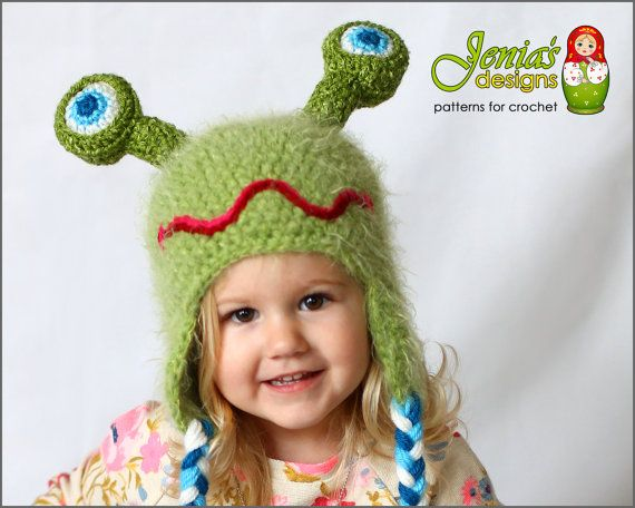 Crochet Pattern Crochet Alien Monster Hat For Baby Infant