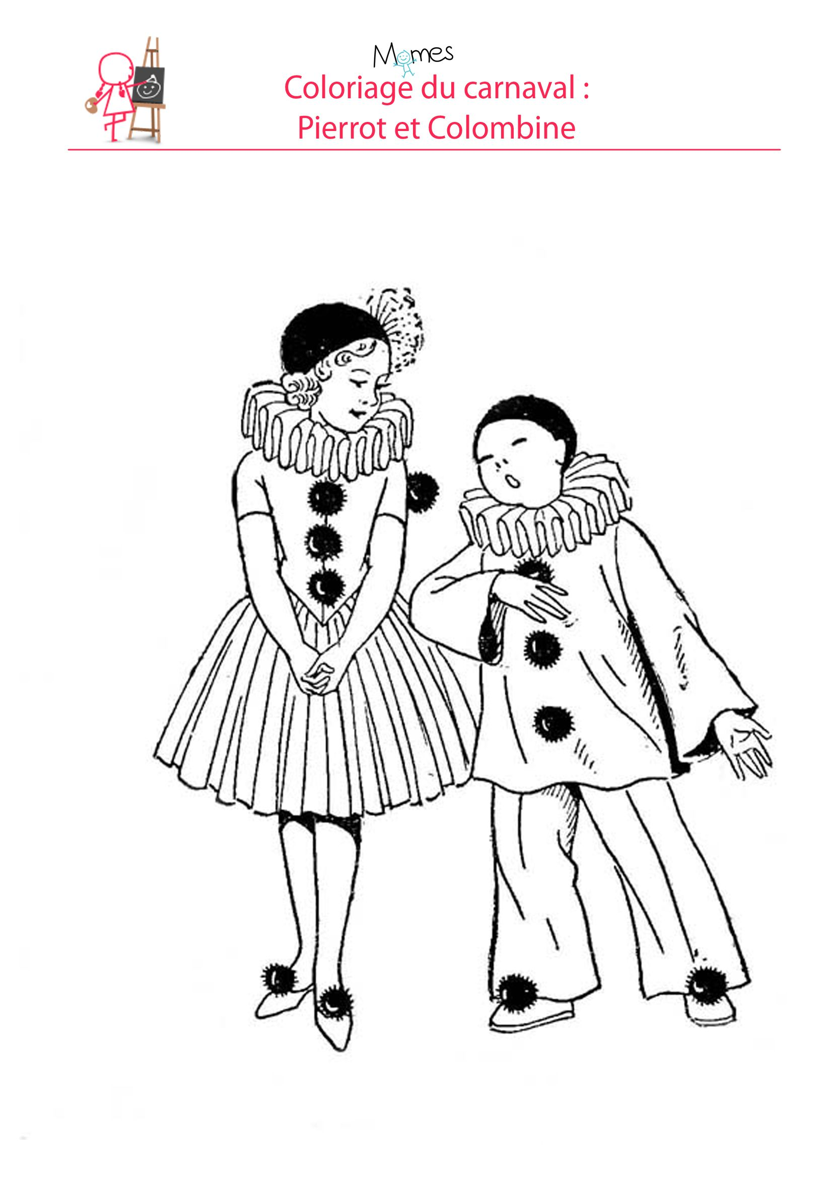 Coloriage Carnaval Deguisements.Coloriage Pierrot Et Colombine Carnaval Drawings Sewing Toys Et