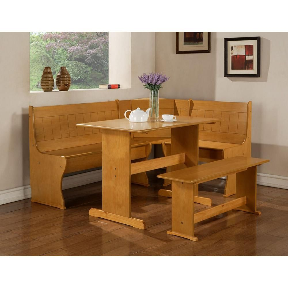 Linon Home Decor Chelsea 3 Piece Natural Dining Set K90366 67 68N2