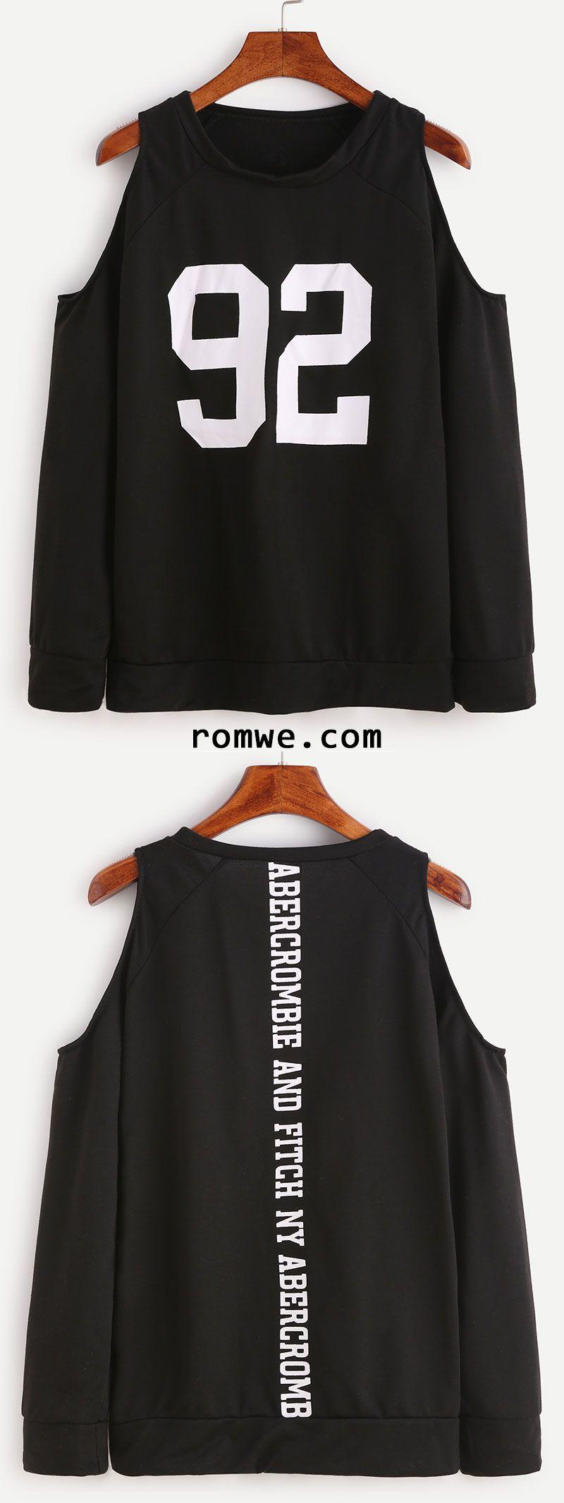 Black Number Print Open Shoulder Sweatshirt