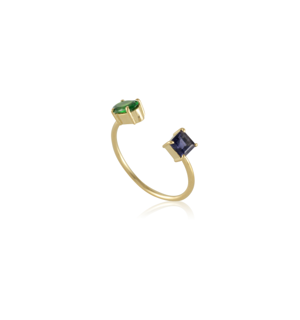 Ileana Makri 18k Yellow Gold Double Stone Chrome Diopside and Iolite Ring