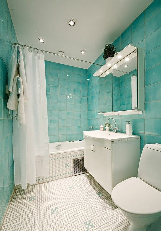Lovely Very Aqua Bathroom White Contrast