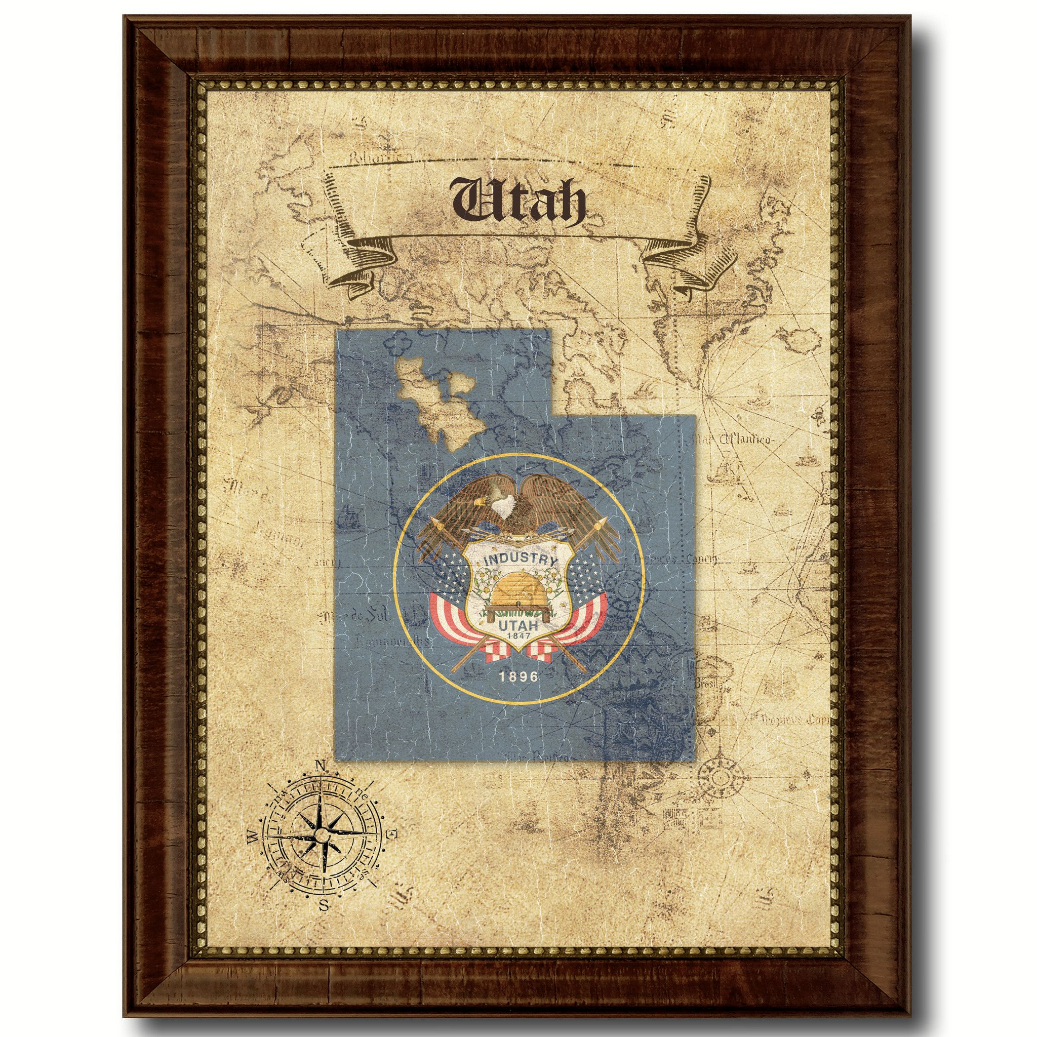 Home Decor Stores Utah: Utah State Vintage Map Home Decor Wall Art Office