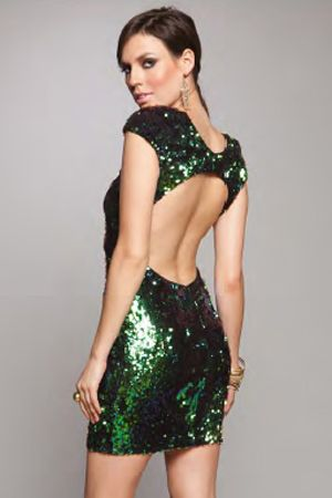 New Year's Party Dress The Population Gabriella Dress in Emerald Irredescent