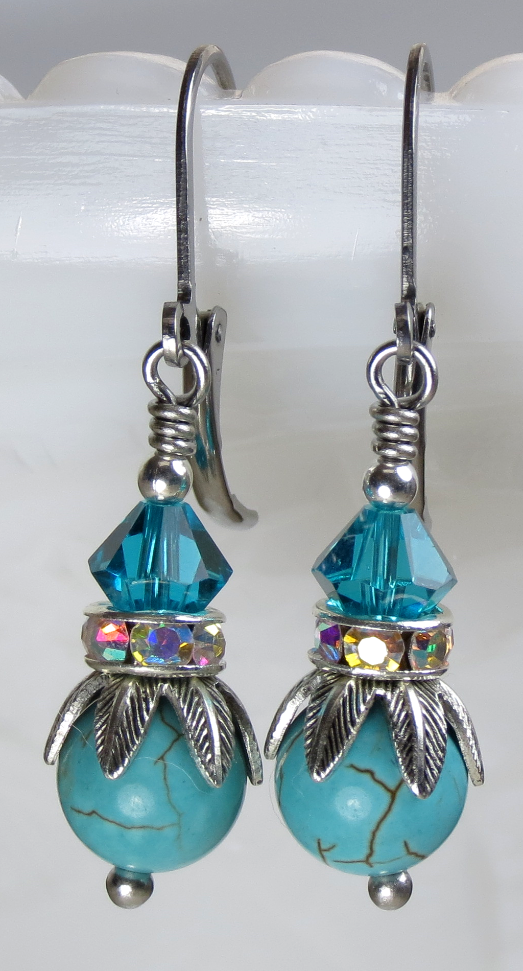 Turquoise Blue Howlite Stone Beaded and Swarovski Crystal Petite Dangle Earrings, Antique Silver with Surgical Steel Earring Wires. Buy your pair today!!!!!
