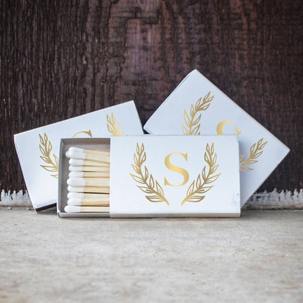 Wreath Design Custom Matchboxes, Single Initial Wedding Matches ...