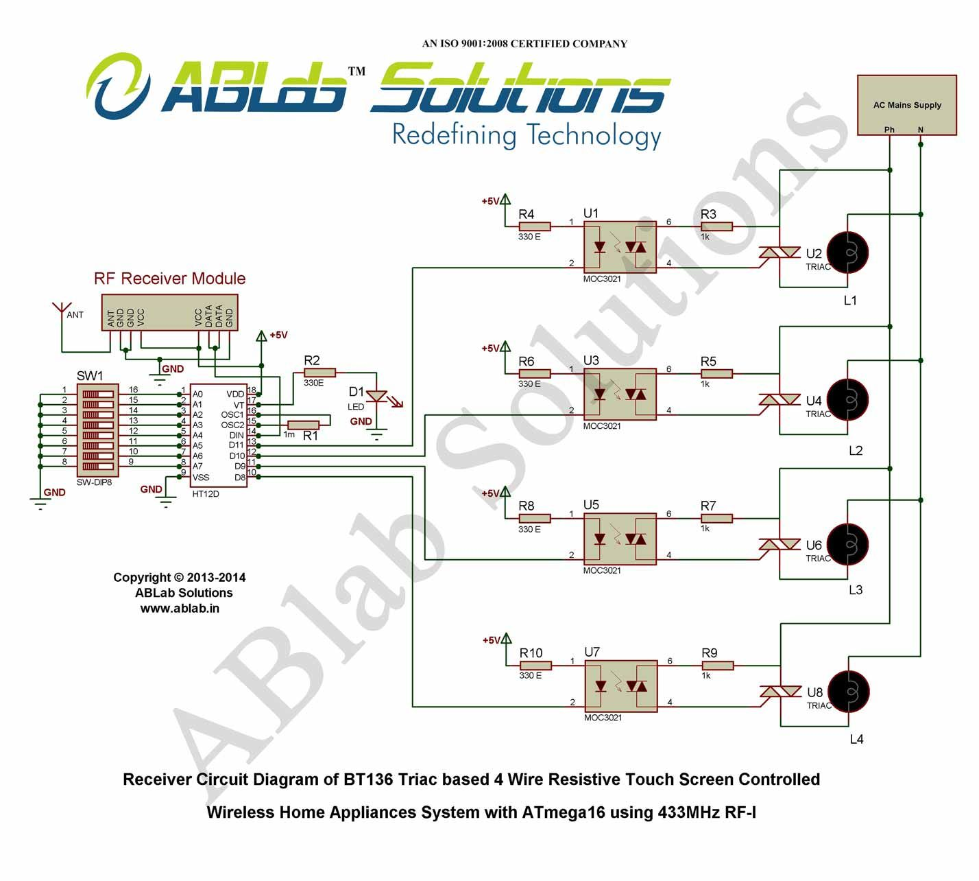 Bt136 Triac Based 4 Wire Resistive Touch Screen Controlled Wireless Wiring Diagram For Household Appliances Home System With Avr Atmega16 Microcontroller Using 433mhz Rf I Receiver