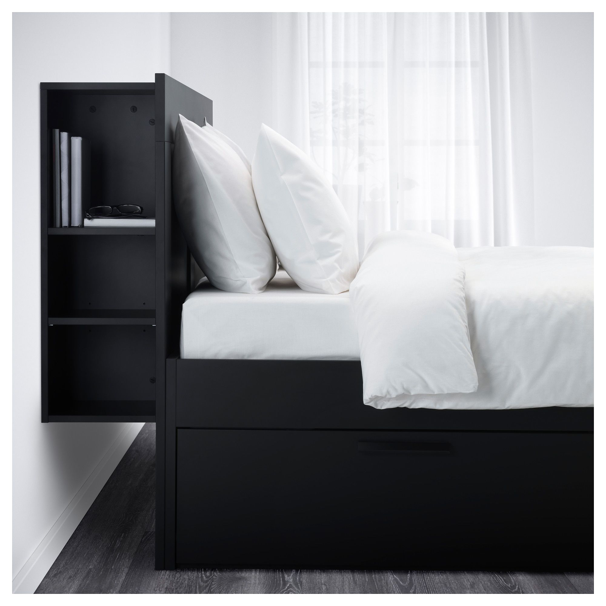 new styles ad7b9 4ac57 IKEA - BRIMNES Bed frame with storage & headboard black ...