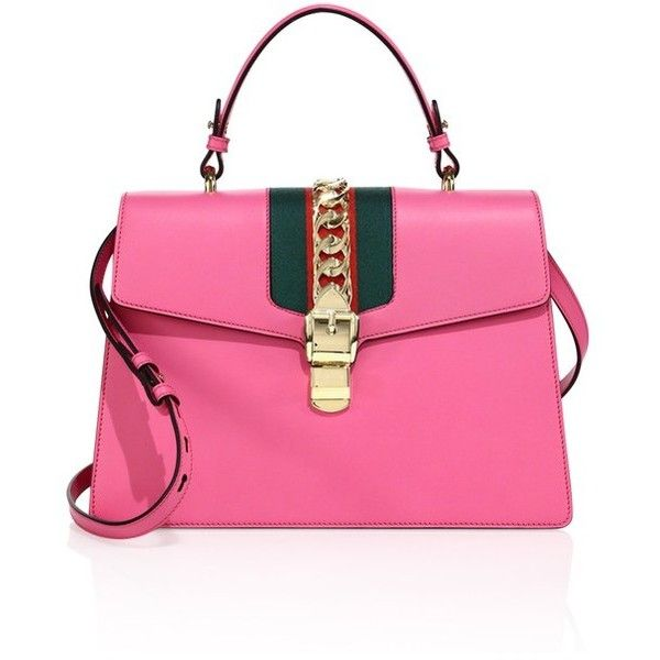 Gucci Sylvie Leather Shoulder Bag ($2,890) ❤ liked on Polyvore featuring bags, handbags, shoulder bags, pink, pink shoulder bag, gucci, top handle handbags, leather purses and pink leather handbags