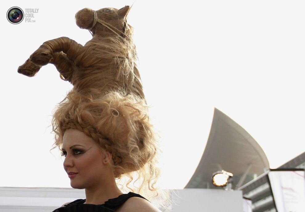 Model with horse hair Dubai Hair humor, Hair styles