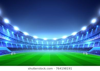 Soccer Stadium Perspective Background With Green Lawn And White Gates Tribunes With Spotlights Blue Sky Vector I Soccer Stadium Soccer Soccer Drills For Kids