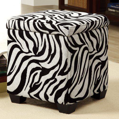 $65 Zebra Fabric Storage Ottoman