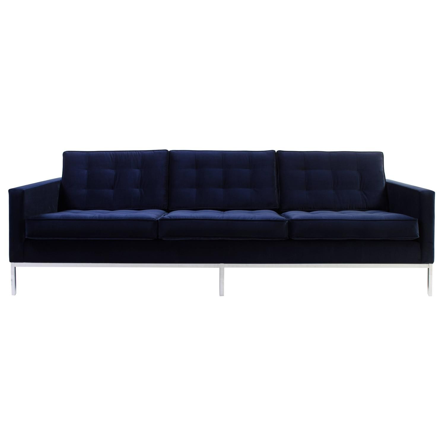 Florence Knoll Sofa Navy American Mid