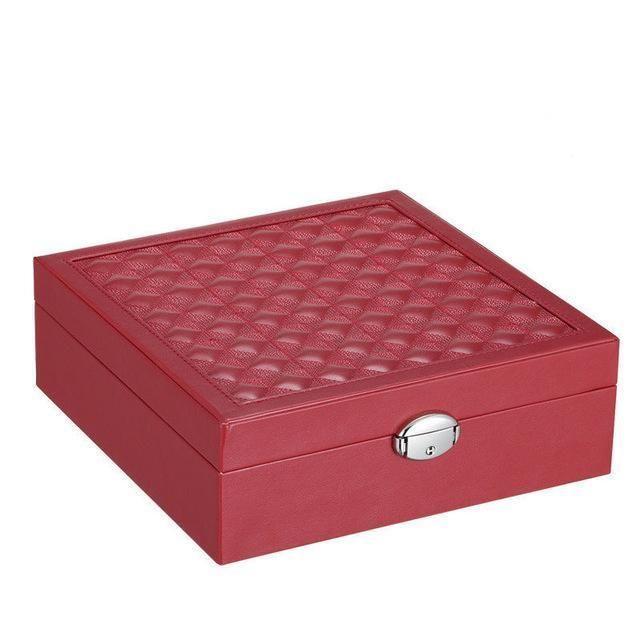 Large Capacity PU Leather Jewelry Organizer Box Detachable Travel