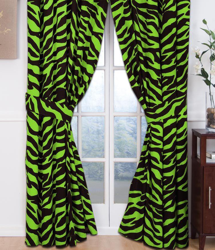 Lime Green Zebra Print Curtains