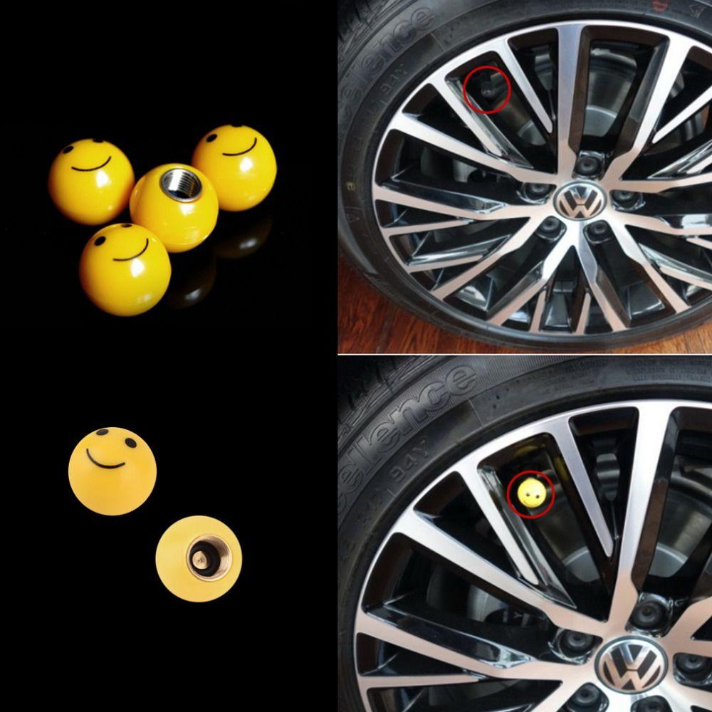4Pcs Auto Dust Screw Wheel Rims Tire Stems Caps Smile Face Car Air Valve Cover