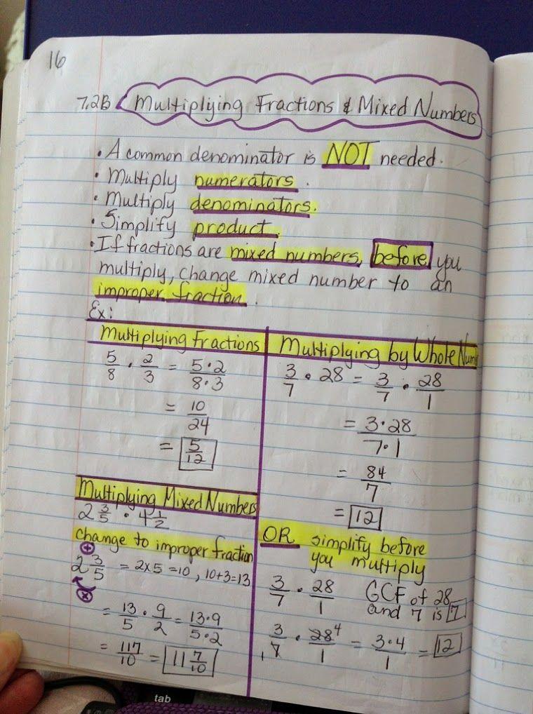Google+multiplying fractions Math interactive notebook