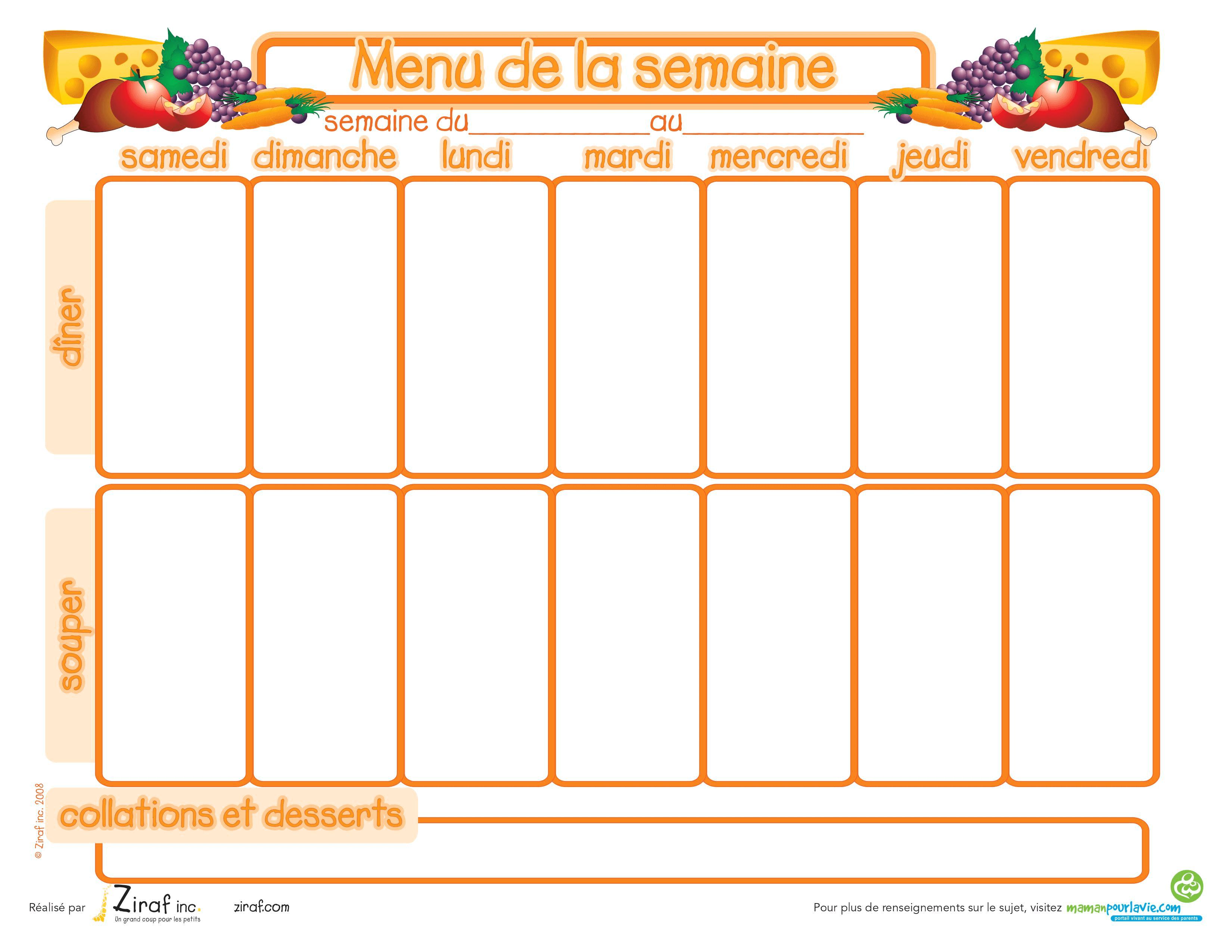 Menus De La Semaine A Imprimer Plannings Vierges Pdf Planner Nutrition Anais