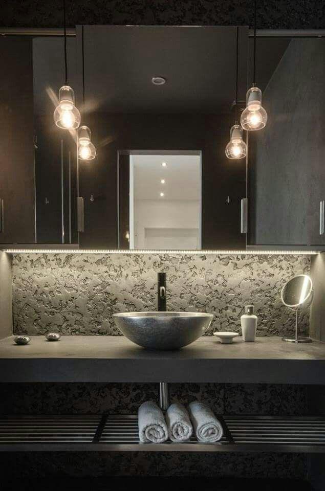 Lavabo moderno fondo en piedra. #bathroom | Cocinas y ...